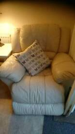 Electric recliner cream leather chair