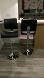 2 Black leather gas breakfast bar stools