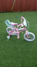 Girls princess bike with stablisers