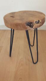 Small Round Side Table with hairpin legs