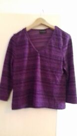 Ladies Purple Top 3Qtr Sleeves Size 12