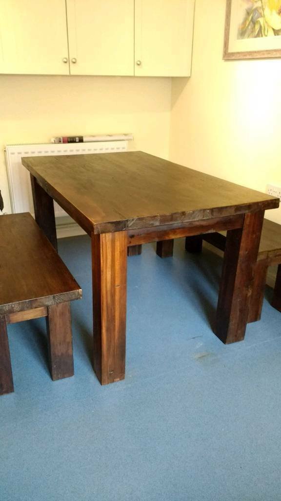 Solid dining table and bench set