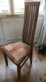 One-off Charles Rennie Macintosh style chair. Recycled with unique hand-crafted patchwork seat.