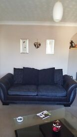 3 SEATER DFS SOFA WITH SWIVEL CHAIR AND FOOTSTOOL