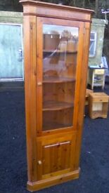 Classy antique pine corner display unit in good solid and sturdy condition