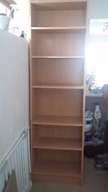 Tall narrow bookcase - used. 204H 60W 29D