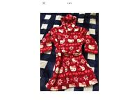 New girls red hello kitty dressing gown robe