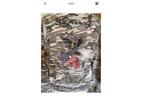 Ed Hardy Zip Jacket, Studded Rose, American Eagle, Large