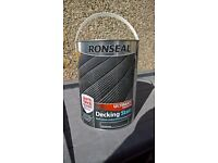 Ronseal decking stain charcoal 5 litre new unopened.