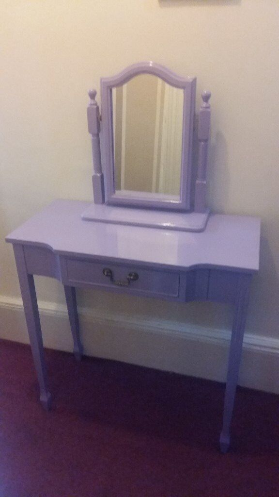 Lovely lilac dressing table with mirror and drawer