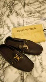 Louis Vuitton Monte Carlo Moccasin shoes US10 UK8 (9) leather brown LV gold 100% authentic