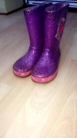 Girls trolls wellie boots