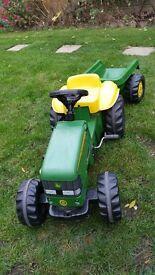 John Deere kids tractor with trailer