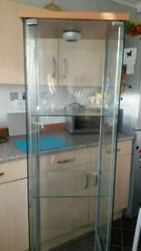 Tall glass display unit with light ex condition