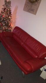 Red Italian leather settee 4 & 2