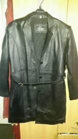 Leather jacket knee length