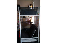 bunk bed with table and futon