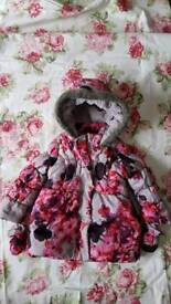Rocha Junior - John Rocha Rocha pretty floral & fur winter coat/jacket with gloves age 2-3