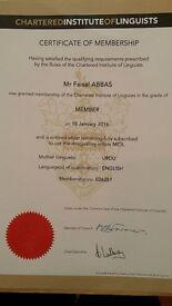 Certified Translator & Interpreter (Urdu, Punjabi and Hindi