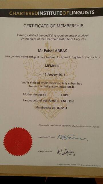 Certified Translator / Interpreter / Subtitler (Urdu