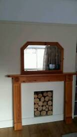 Pine fire surround with over mantle mirror