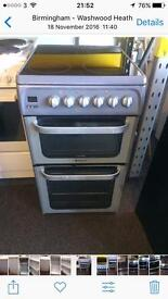 Silver Hotpoint 50cm ceramic hub electric cooker grill & fan oven good condition with guarantee