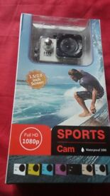 Brand New 1080p Sports Cam (Waterproof) with Accessories