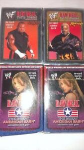WWF 4 DECK OF CARD FOR $25 I SEE THEM ON E BAY GOING FOR $15 EACH TOTAL $ 60 AND SHIPPING