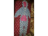 tuffet all in ones sleeping pyjamas 8-10 134 -140 cm blue/spot pink