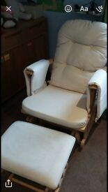 Cream and wood rocking/nursing chair