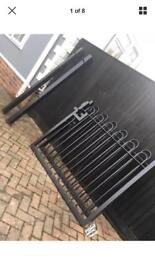 10ft bow top steel black driveway gates/ powder coated