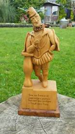 """Stunning Large hand carved wooden figure of """" the court jester """" on a wooden Base 14"""" tall"""