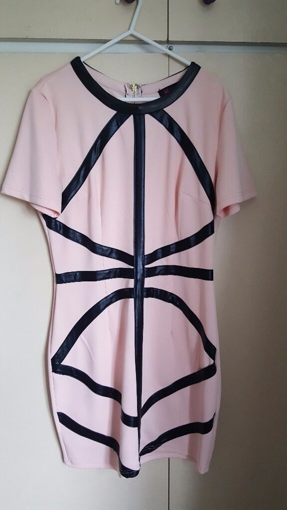 Bodycon dress size 14in Doncaster, South YorkshireGumtree - Pink leather details bodycon dress, large gold zip down the back. Has been worn once and dry cleaned, no marks or damage like new. From a smoke free home