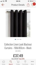 Brand new Black Linen blend blackout curtains