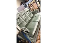3 seater and chair velour suite in green