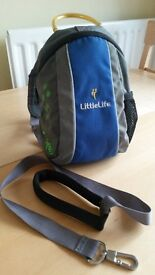 LittleLife Blue Grey Dinosaur Toddler Backpack with Safety Reins Harness