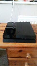 PLAYSTATION 4 CONSOLE WITH CONTROLLER AND LEADS.