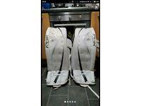 Ice hockey goalie leg pads and shorts