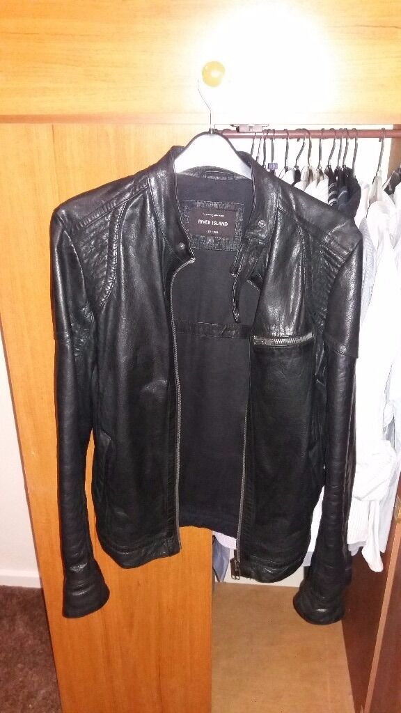 Mens black leather jacket (river islandin Darlington, County DurhamGumtree - Here for sale is a mens black leather jacket from river island. Its a mens medium size and is in perfect condition and has hardly ever been worn. Its a great looking and very stylish jacket and I bought this over a year ago for £150. Im only asking...
