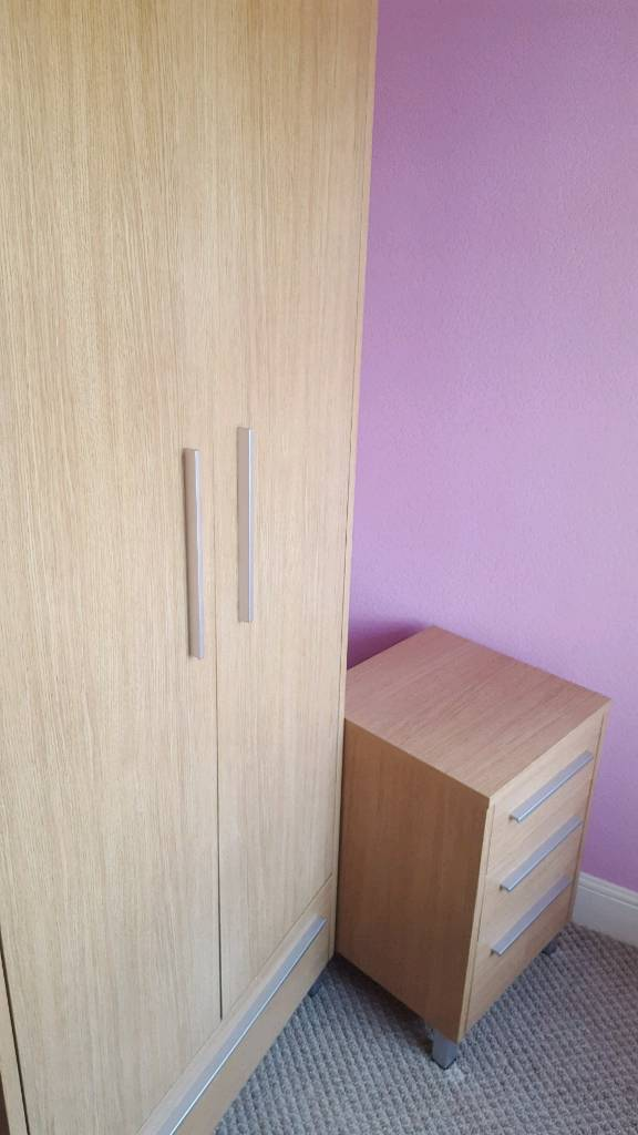 Two door wardrobe and matching bedside chest in oak