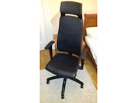 "Ikea ""Volmar"" swivel chair with headrest (black) + free floor protector"