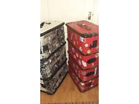 2 upcycled bentwood steamer trunks cases props