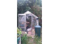 Aluminium greenhouse approx 6x6