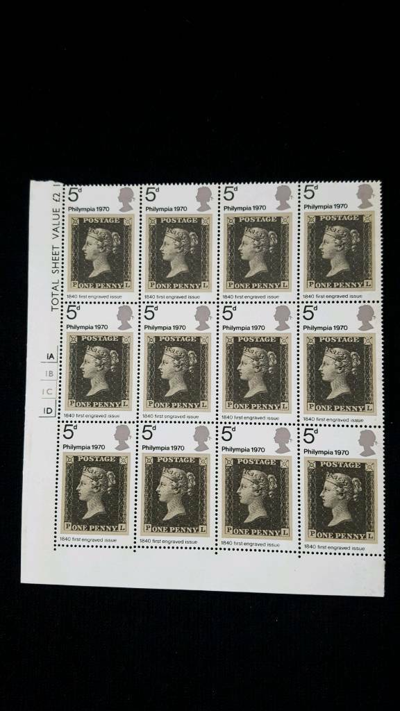 BLOCK OF 12 PHILYMPIA 1970 5d STAMPS