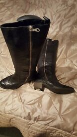 hardly worn ladies Clarkes black leather knee high boots size 5