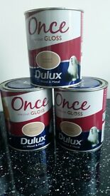 Dulux Once Gloss Natural Hessian x 4 + Cookie Dough x 4