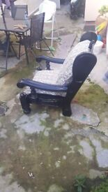 repaired and restored antique arm chair in need of a loving warm home