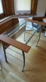 Desk glass, wood, metal stylish