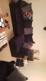L shape Corner sofa, 3 seater and Pouffe.