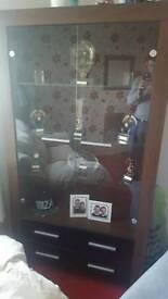 Dark oak glass cabinet